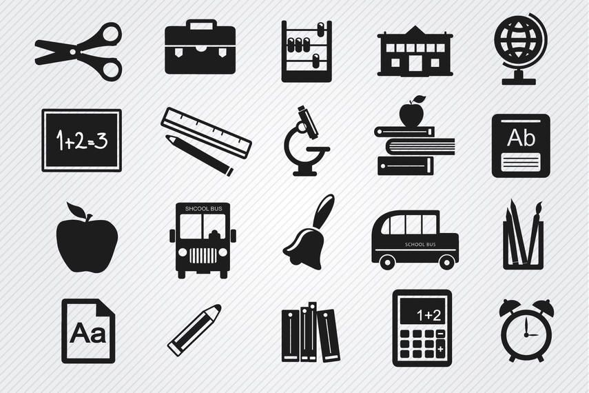 Conjunto de ícones de objetos de estudo