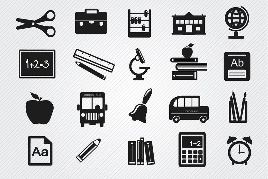 Conjunto de iconos de objetos de estudio