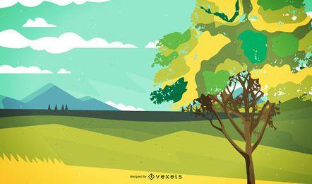 Paisaje abstracto con gran árbol