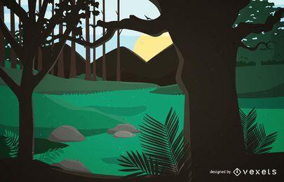 Paisaje de bosque pintado