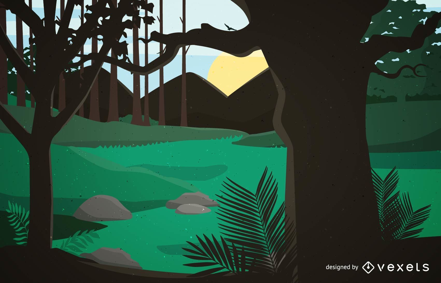 Paisaje de escena de bosque pintado