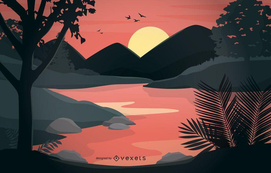 Bosque lado río dibujos animados paisaje