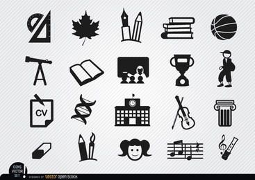 School elements icons set