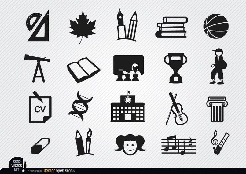 School elements icons set