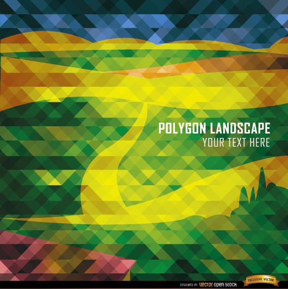Polygon road and mountains landscape