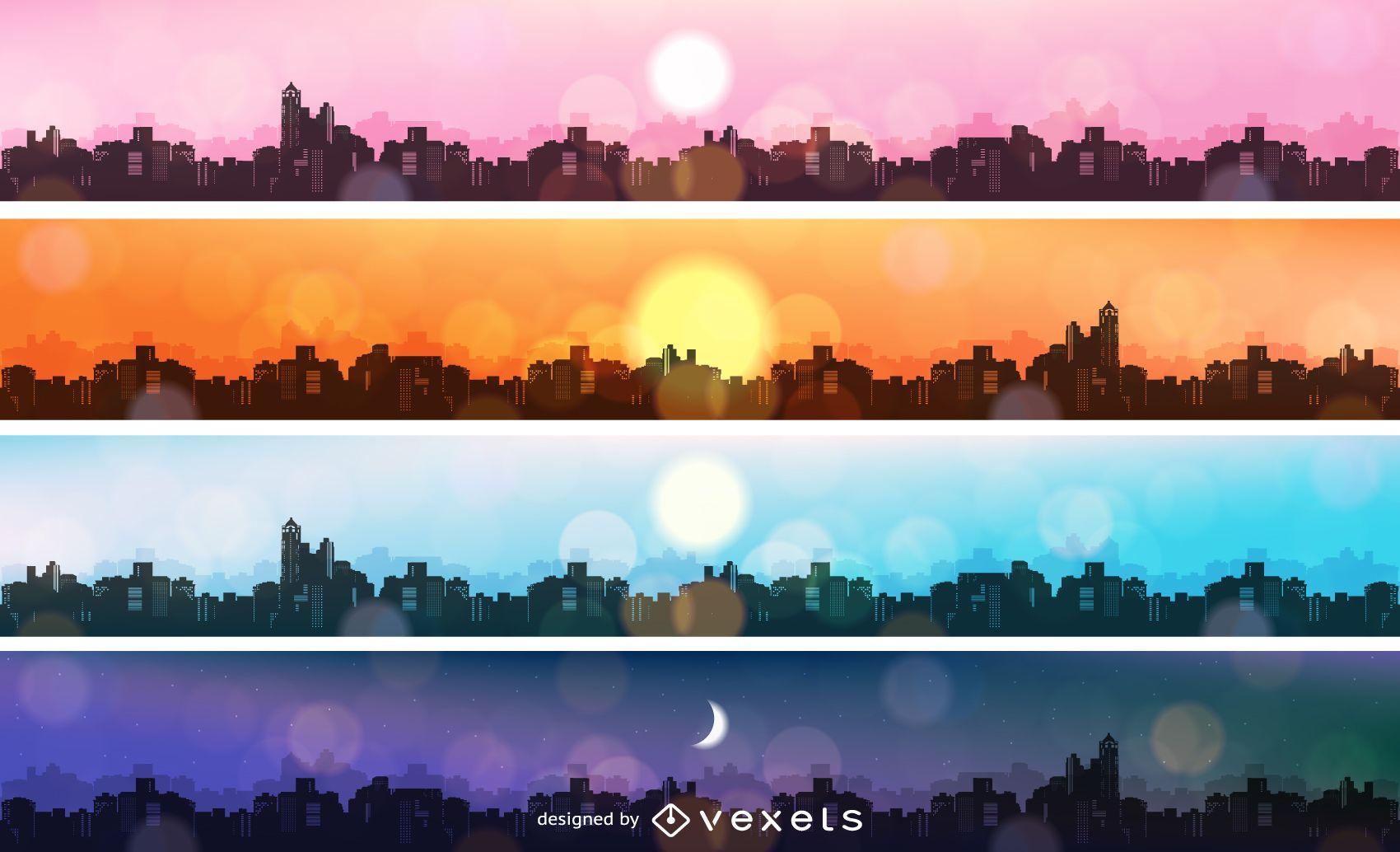 Paquete de banners de paisaje urbano de la mañana a la noche