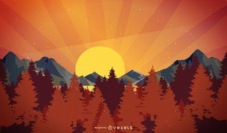 Fondo de la puesta del sol del paisaje de la ladera de la montaña