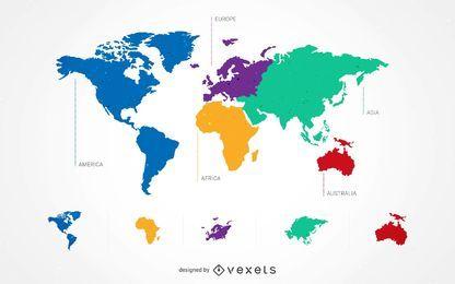Conjunto de 5 mapas continentales del mundo