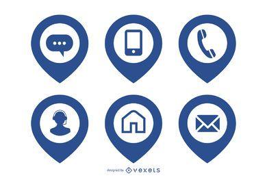 Paquete de iconos web simplista con puntero de ubicación