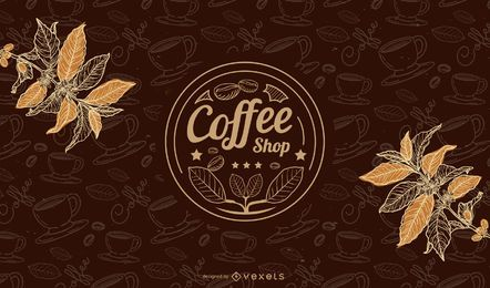 Hot Coffee Cup Background with Beans