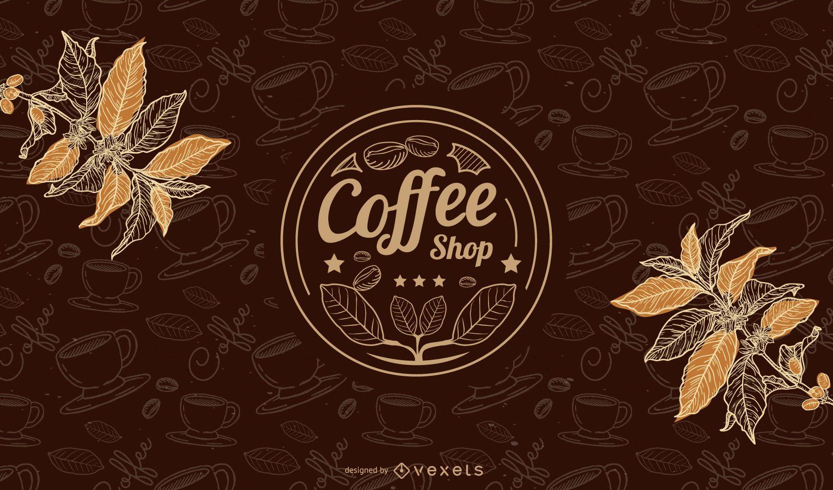 Fondo de taza de café caliente con frijoles