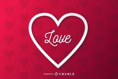 Corte de papel coração Applique Valentine Background