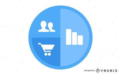Infografía circular de comercio electrónico y negocios