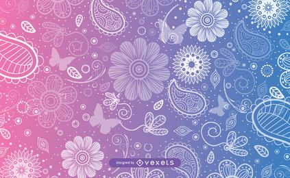 Decorative Swirls & Butterflies Seamless Pattern
