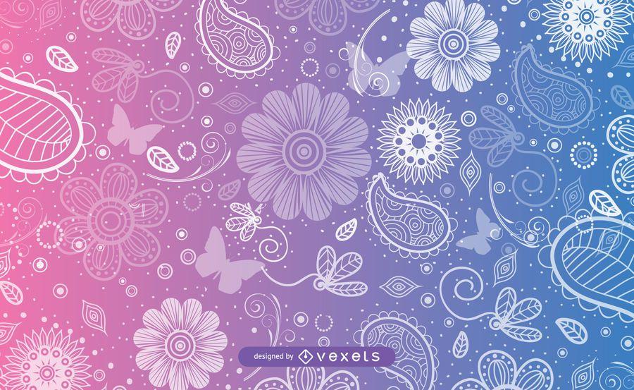 Decorative Swirls & Butterflies Pattern