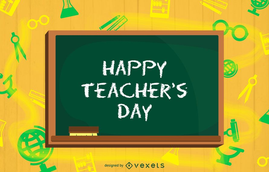 Funky Teachers Day Background with Chalkboard