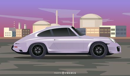 Porsche Car in the Street with Abstract Background