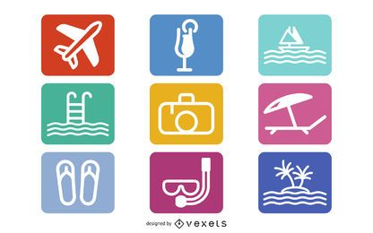 Flat Summer Icon Set on Rounded Corner Square