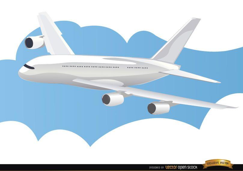 Avião viajando no céu