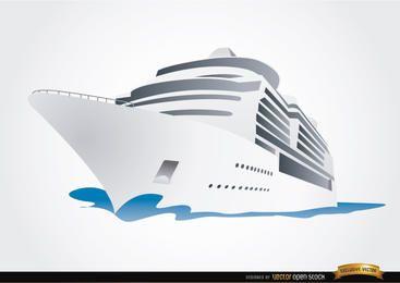 Crucero de dibujos animados viajando en el mar