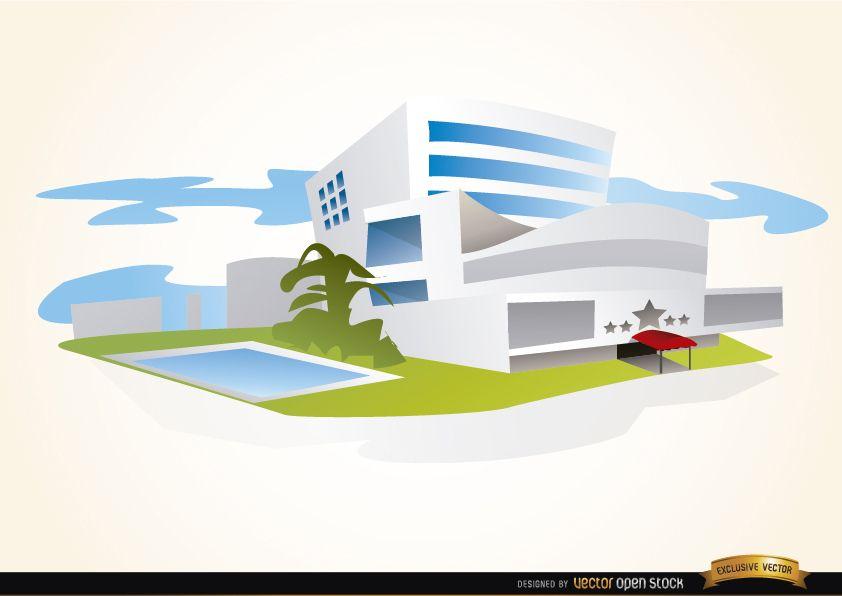 Edificio de hotel de lujo con piscina