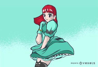 Netter schauender Anime-Mädchen-Charakter