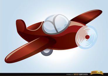 Avião de brinquedo de desenho animado voando