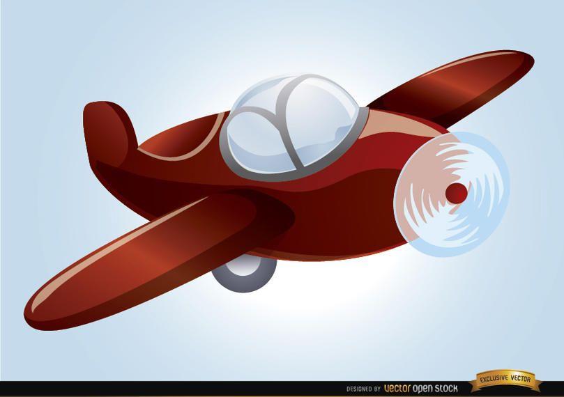 Avión de juguete de dibujos animados volando