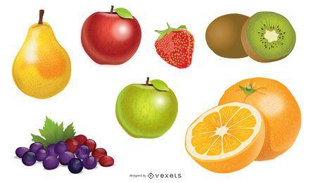 Paquete de frutas saludables con detalles brillantes