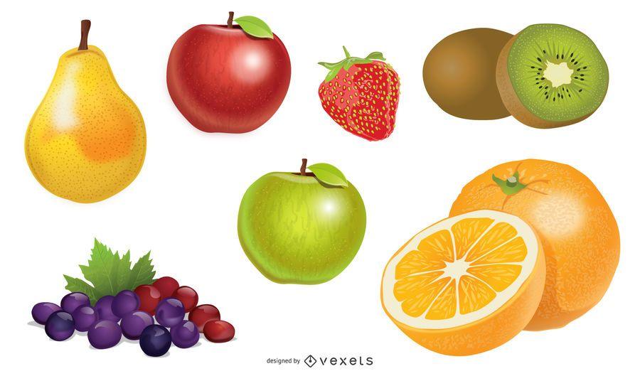 Pacote de fruta saudável de detalhe brilhante