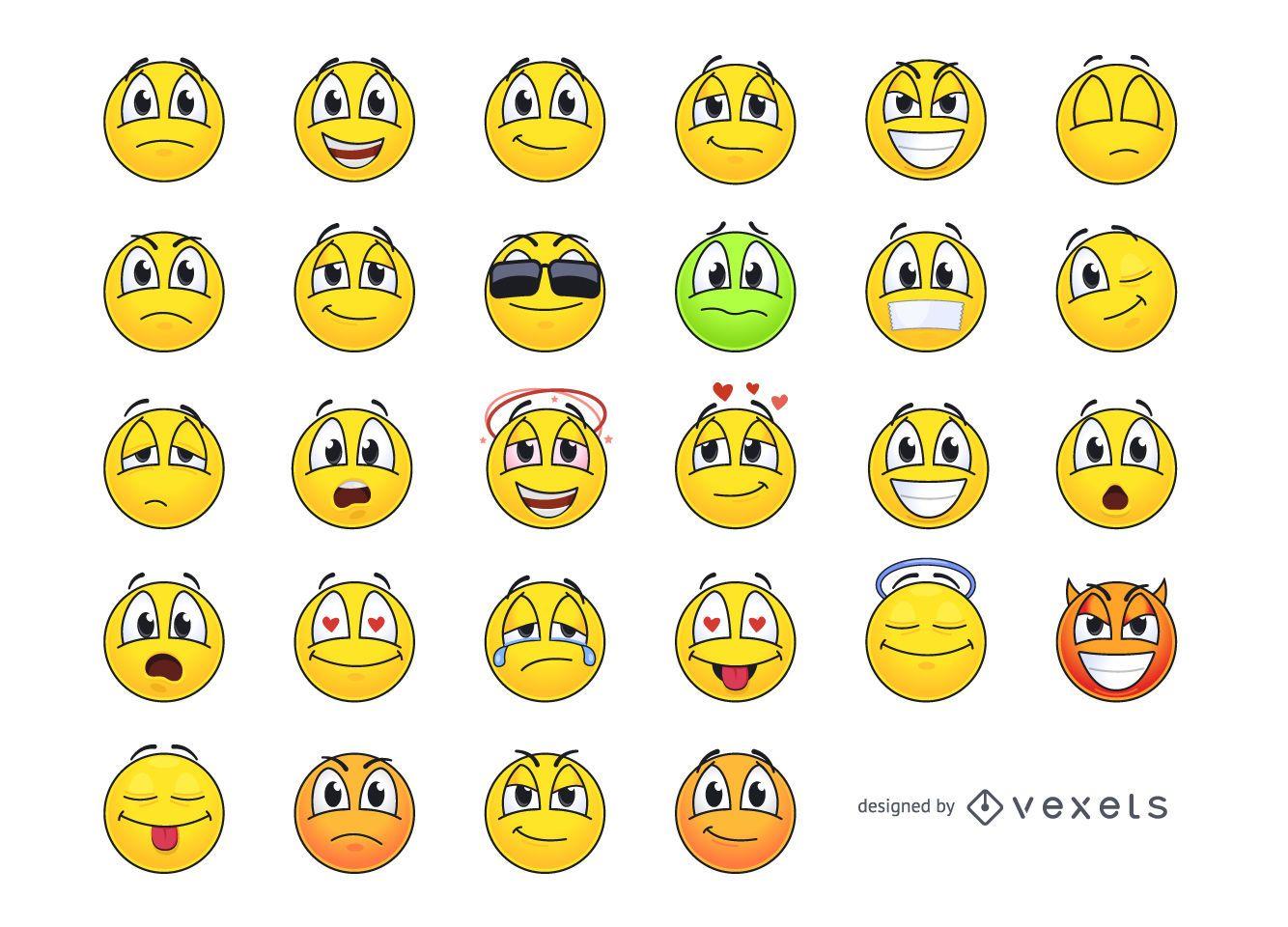 Pacote de smileys de emoticons amarelos funky