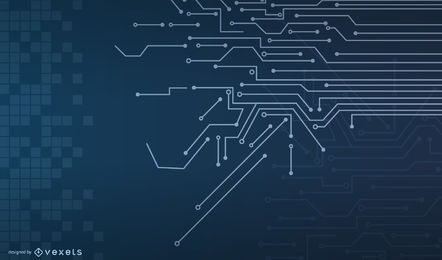 Fondo de líneas de circuito azul con cuadrados