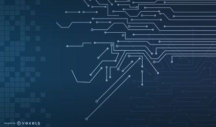 Fundo de linhas de circuito azul com quadrados