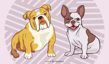 Conjunto de raça e bulldog estilo funky