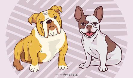 Conjunto estilo funky de raza y bulldog