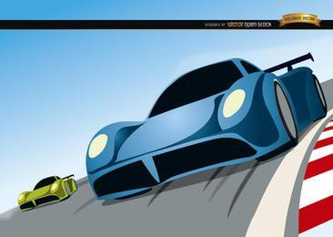 Desenhos animados de competição de carros de corrida