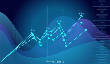 Blauer Technologie-Leuchtstofffinanzdiagramm-Hintergrund
