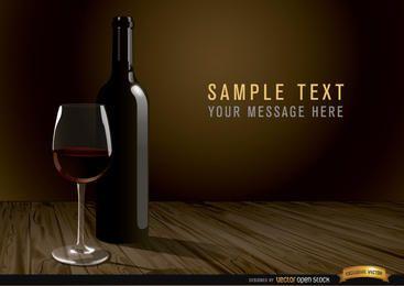 Botella de vino y fondo de cristal