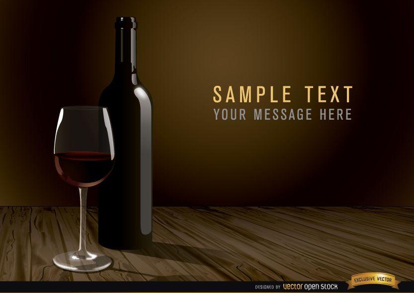 Fondo de botella y vidrio de vino