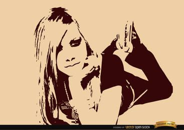 Avril Lavigne drawing wallpaper