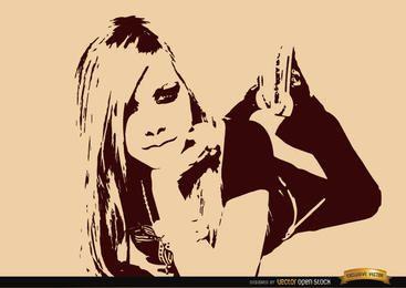 Papel de parede de desenho de Avril Lavigne
