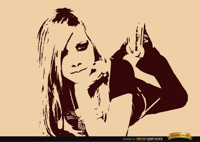 Avril Lavigne drawing wallpaper