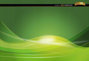 Fondo verde abstracto ondulado