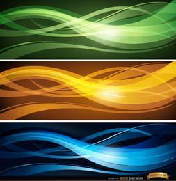 Conjunto de cabeçalhos de linhas onduladas