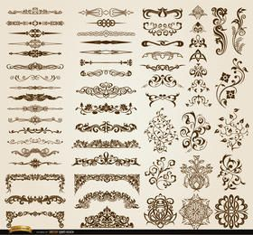 Conjunto de 60 ornamentos e divisores de redemoinhos florais