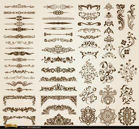 Conjunto de 60 ornamentos florais redemoinhos e divisores