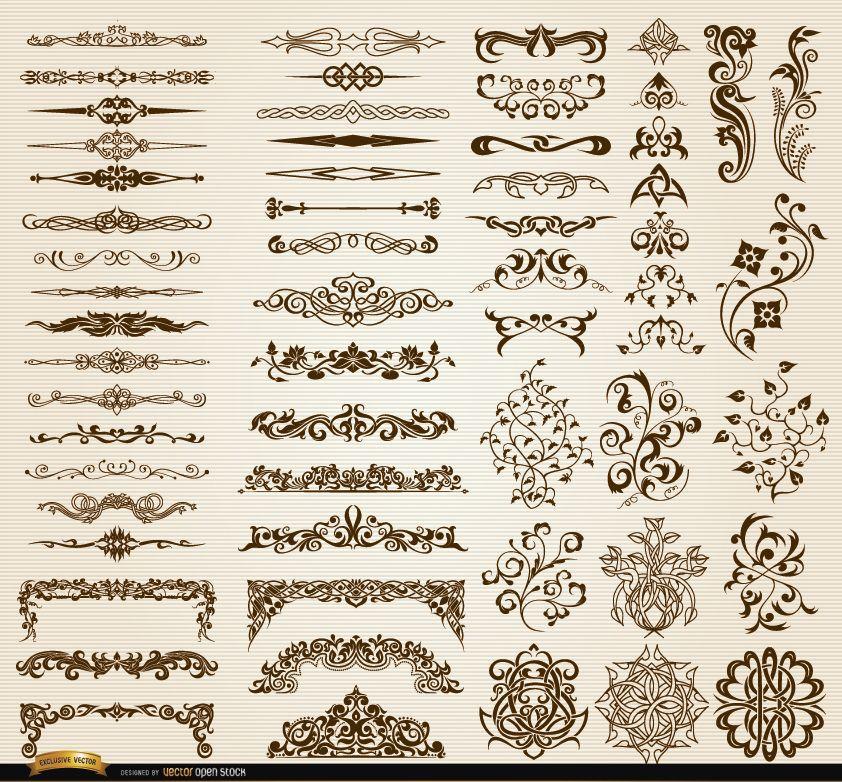 Conjunto de adornos y separadores de 60 remolinos florales