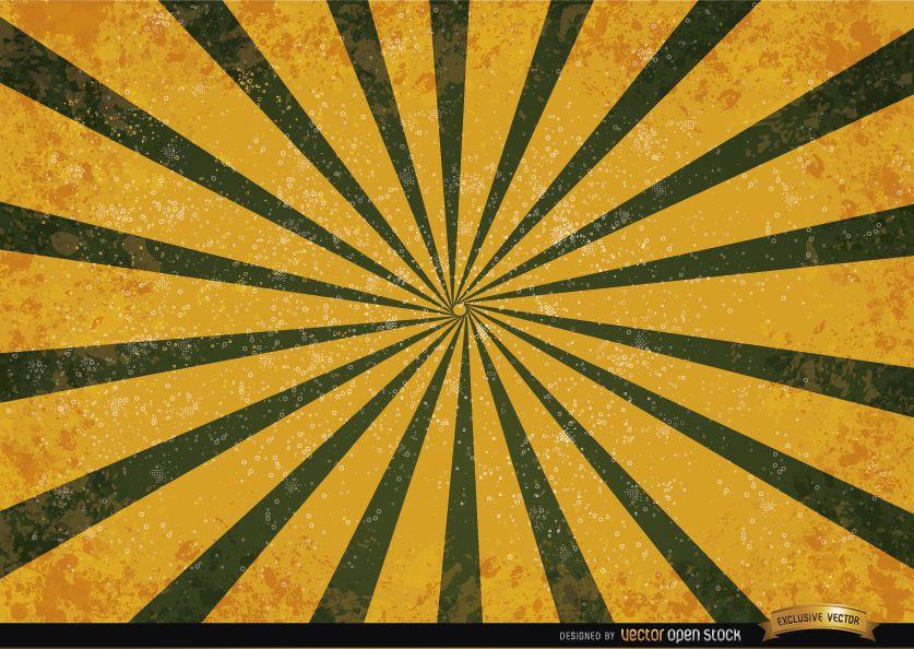 Fondo de grunge de rayas radiales verde naranja