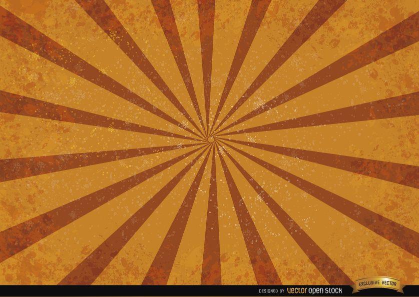 Orange red radial stripes grunge background