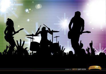Fondo de siluetas de concierto de multitud de banda de rock